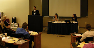 EPIC's Erik Gustafson addresses the Iraqi Refugee Roundtable Strategy Session at Georgetown Law School (EPIC Photo/Chris Breuer - 5/24/07)