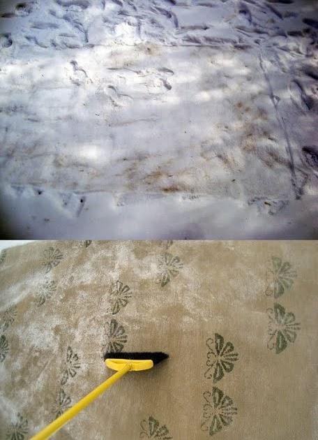 un truc par jour truc n 454 nettoyer son tapis avec de la neige. Black Bedroom Furniture Sets. Home Design Ideas