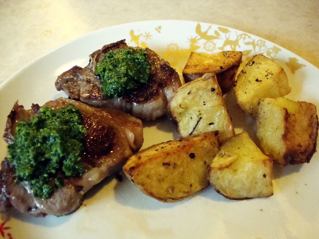 lamb chops with parsley pesto and roasted herbed potatoes