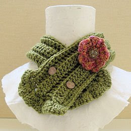 crochet flower soft olive green scarflette with anywhere buttons and detachable flower brooch