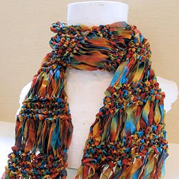 Free Knitting Pattern For Ribbon Scarf : JeweledElegance: Free Pattern: Drop Stitch Scarf