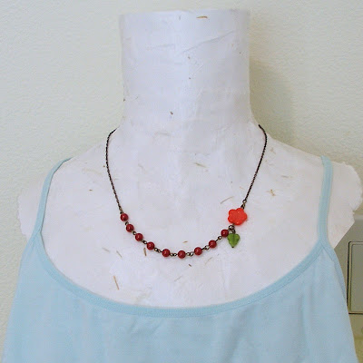 Passion -- vintage style flower and leaf necklace