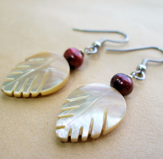 Satine Earrings -- mother of pearl and freshwater pearl earrings