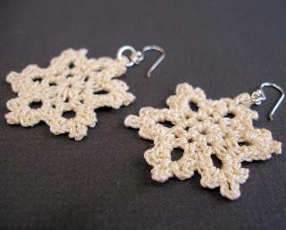 PDF crochet pattern easy vanilla snowflake lace earrings