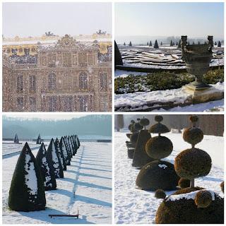 Versailles gardens in the snow