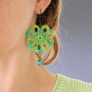easy crochet lace PDF pattern peacock jewelry earrings
