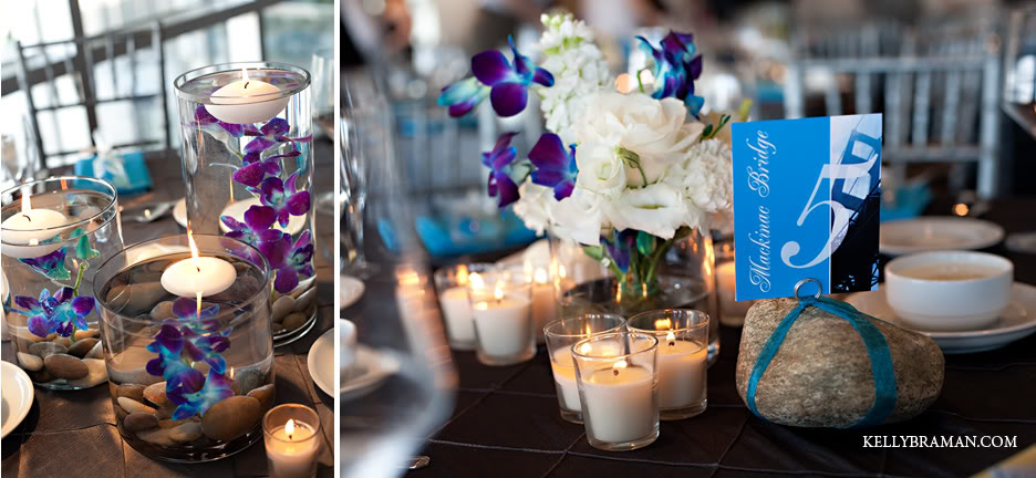 Kathleena s wedding centerpieces peacock blue purple