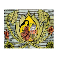 patua lotus ganesh scroll painting west bengal india