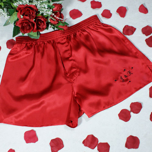 Embroidered You U0026 Me Silk Boxer Shorts   Valentineu0027s Day Boxer Shorts