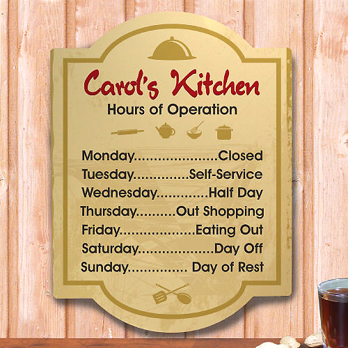 kitchen wall sign personalized hours of operation kitchen wall signs