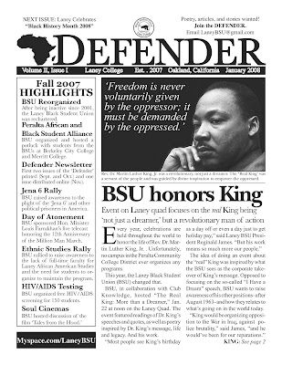 January 2008 Laney BSU Laney Defender Front Page