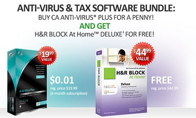 Free CA Anti-Virus Plus and H&R BLOCK AT Home Deluxe