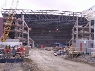 Malmö Arena i Hyllie under uppbyggnad. Byggherre: Parkfast