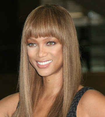 front bangs hairstyle. Tyra Banks Fringe Hairstyle