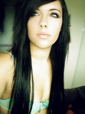 black emo hairstyle is very nice and cool made by a girl beautiful and sexy
