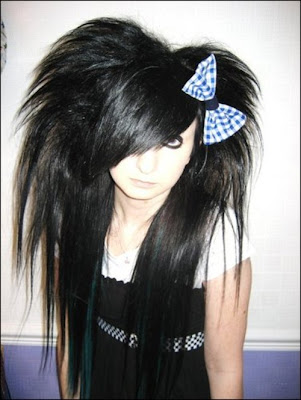 cute scene girl with long red black hairstyle