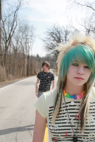 2010 scene girl with long straight hair style
