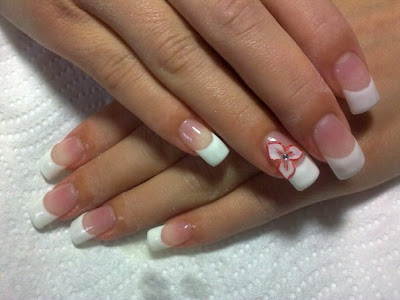 French Manicure with beautiful rose design