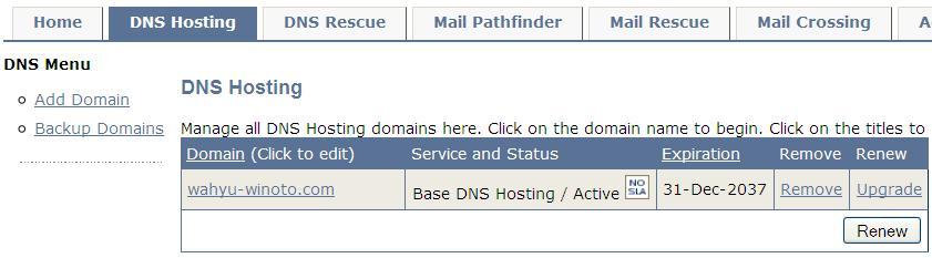 Domain yang baru kita masukkan tadi akan terdaftar pada Domain List