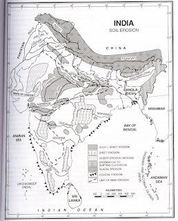 Civil service examination preparation through maps india for Soil erosion in hindi