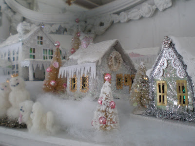My shabby streamside studio my christmas snow house village - Petite maison de noel decoration ...