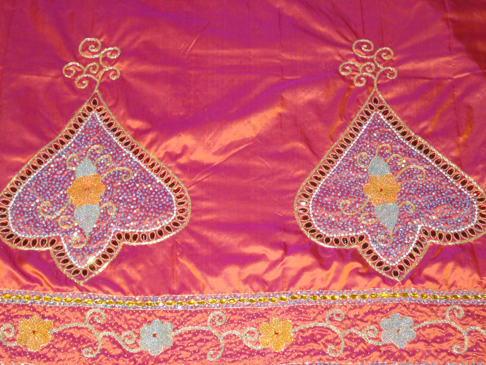 Aari zardosi beads embroidery work on pattu plain saree