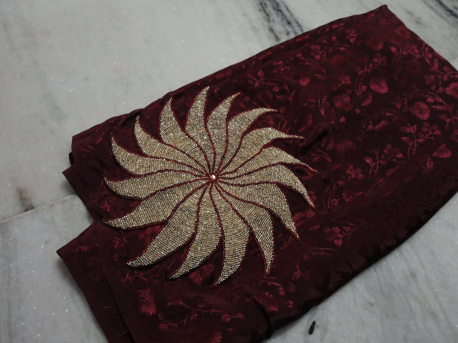 Aari zardosi beads embroidery another saree in fancy crape