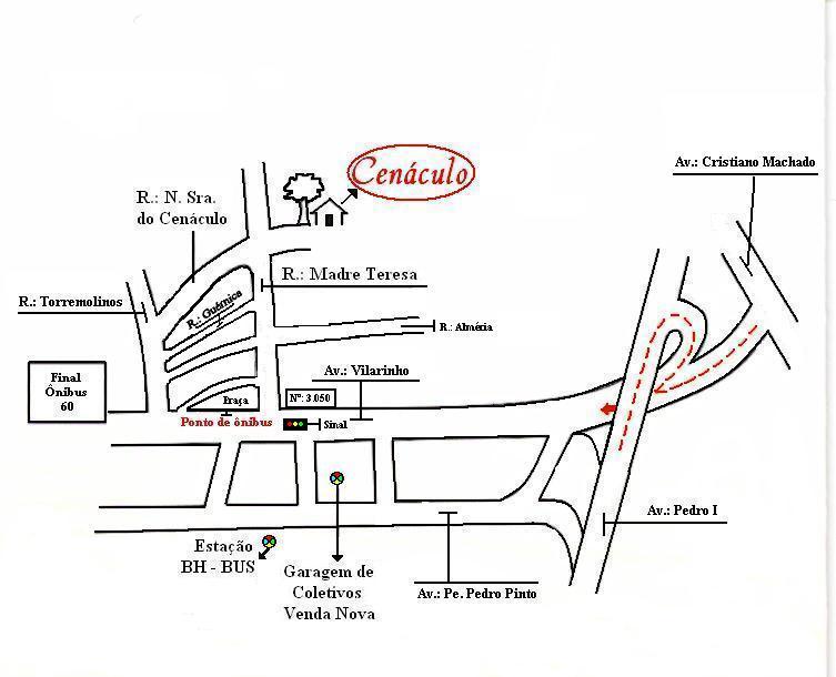 Mapa de como chegar no Cenáculo
