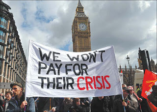 Protest Banner: We Won't Pay for their Crisis