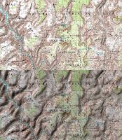 Mapa topograficzna (góra) bez cieniowania; (dół) z cieniowaniem