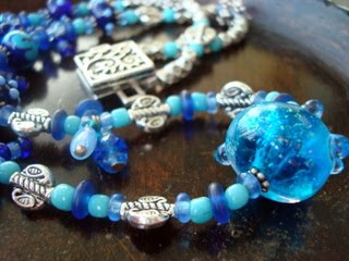 Marine inspired glass necklace, handcrafted glass necklace