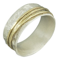 handcrafted wedding bands, two tone spinning wedding band, David Tishbi wedding bands