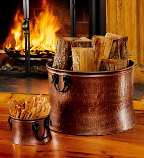 copper fireplace accessories, copper wood bucket, copper decor