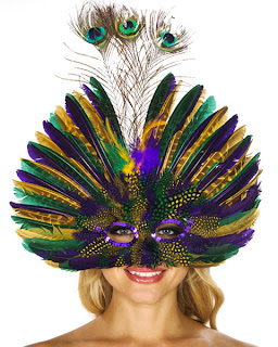 Mardi Gras Mask with Peacock Feathers