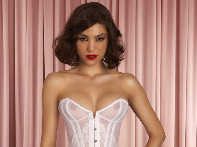Silvia Dimitrova topless see through Agent Provocateur lingerie