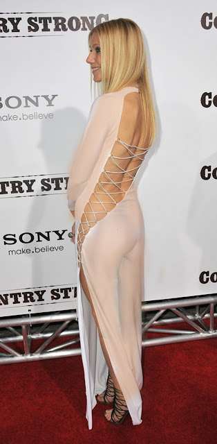 Gwyneth Paltrow sexy see through tight dress without panties and bra