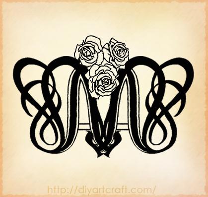 lettera M Stilizzata, in Corsivo - Tutti i Tatuaggi con la lettera M