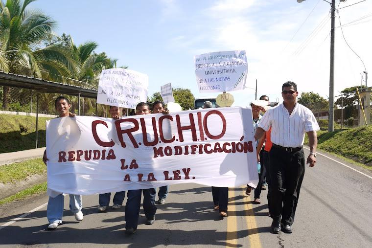 UNIVERSITARIOS DEL CRUCHIO EN LA MARCHA POR LA DEFENSA DE LA AUTONOMIA DE LA UNACHI