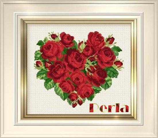 Вышивка крестом сердце из роз схемы 72