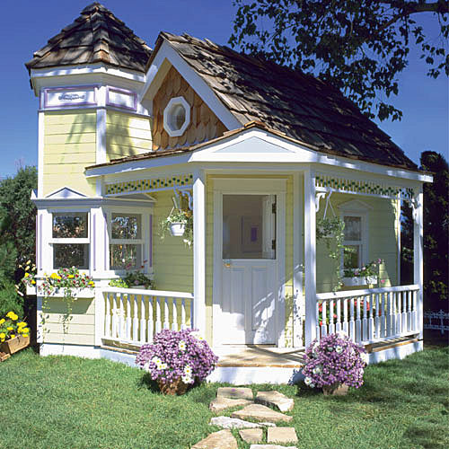 Victorian Backyard Floored Playhouse : Victorian Playhouse plan and FREE child furniture plans  eBay