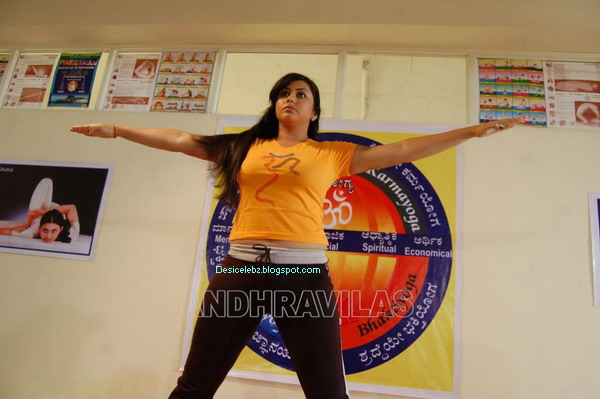 Namitha doing yoga to keep her assets in shape