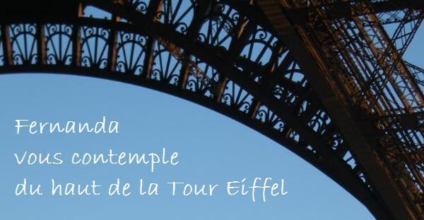 Fernanda vous contemple du haut de la Tour Eiffel