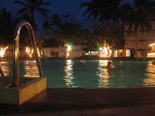 amaya reef hotel hikkaduwa sri lanka reflected light in pool at night