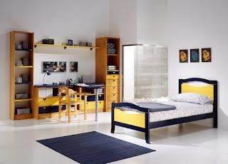habitacion con cama individual pino macizo