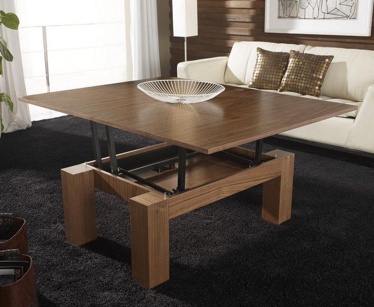 Mesas de centro elevables y extensibles a mesas de comedor for Centros de mesa para comedor