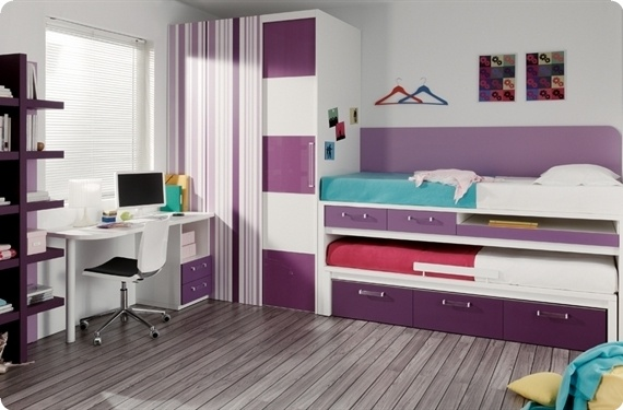 Dormitorio juvenil con puente cama compacto armario de for Cuartos de ninas 11 anos
