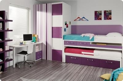 Dormitorio Juvenil Con Puente Cama Compacto Armario De