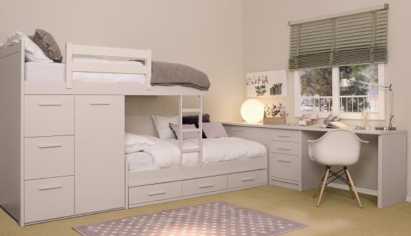 Dormitorios infantiles y juveniles para ni as ni os y for Camas puente infantiles
