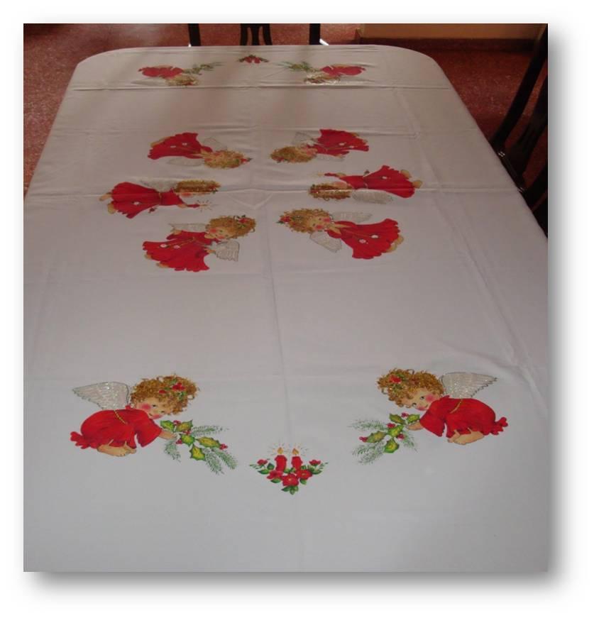 Pintura artesanal manteles repasadores de cocina for Caminos para mesas redondas