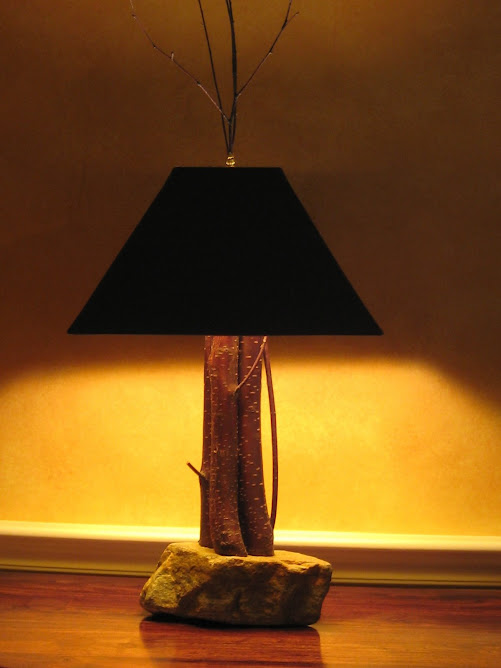 Handcrafted pin cherry lamp